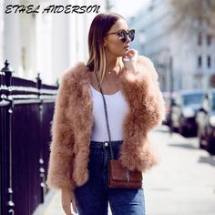 Natural 100% Ostrich Fur Jackets Regular Sexy Feather Real Fur Coat Genuine Ostrich Feather Fur Spring Jacket Retail / Wholesale