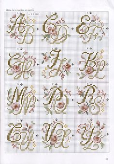 go Nice alphabet. Two letters in one motif so would take less fabric. Have never seen this setup. No color chart. Cross Stitch Letters, Cross Stitch Love, Cross Stitch Samplers, Cross Stitch Charts, Cross Stitch Designs, Cross Stitching, Cross Stitch Embroidery, Embroidery Alphabet, Embroidery Monogram