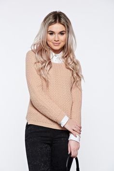 Rosa casual knitted asymmetrical sweater with easy cut, asymmetrical cut, easy cut, long sleeves, knitted fabric, women`s sweater