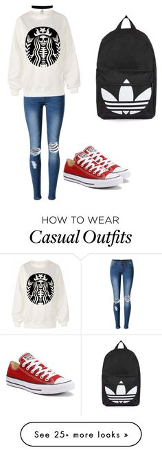 """Casual day out"" by purplejamjar on Polyvore featuring WithChic, Converse and Topshop"