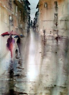 One persons attempt to become a good artist painting in watercolour, experiences along the way and discussion of all things connected with it. Art Watercolor, Watercolor Landscape, Umbrella Art, Painting Inspiration, Painting & Drawing, Amazing Art, Cool Art, Art Photography, Street Art