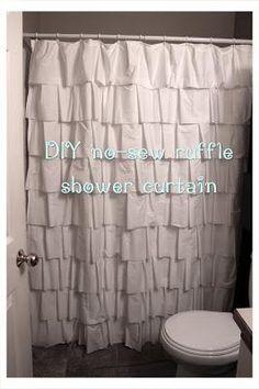 DIY Ruffle : DIY No Sew Ruffle Shower Curtain