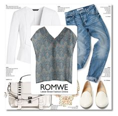 """""""Romwe : V Neck Top"""" by fattie-zara ❤ liked on Polyvore featuring White House Black Market, Gemma Simone, Proenza Schouler, Charlotte Olympia and romwe"""