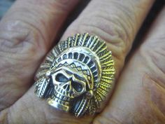 Lucian is in love with this! Indian skull ring in sterling silver by Billyrebs on Etsy, $99.00