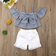 Baby / Toddler Striped Strappy Top and Stretchy Shorts Set Frocks For Girls, Kids Frocks, Dresses Kids Girl, Kids Outfits, Cute Outfits, Baby Dress Design, Baby Girl Dress Patterns, Baby Girl Fashion, Kids Fashion