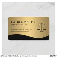 Attorney / Gold Metallic Scales Business Card Lawyer Business Card, Attorney At Law, Marketing Consultant, Professional Business Cards, Dog Design, Metallica, Finance, Things To Come, Social Media