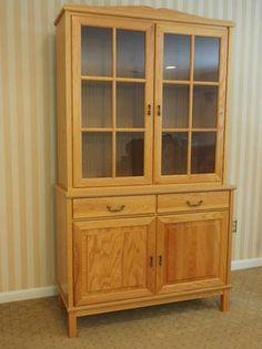 """http://philadelphia.craigslist.org/fuo/5447749774.html  Classic Style Lt. Oak Double Sideboard & Hutch - $249 (Elkins Park)  Double sideboard: 43.5"""" wide, by 17.5"""" deep, by 34"""" tall. Hutch: 42"""" wide, by 14"""" deep, by 42"""" tall. Total height of hutch on the dresser: 76"""" (6' 4"""")."""