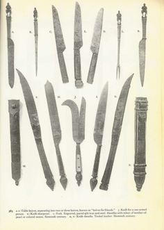 Pricker, fork and eating knives, c. 16th century