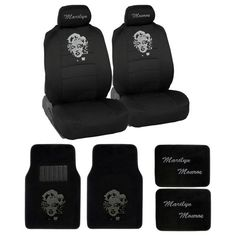 Marilyn Monroe Rhinestone Car SUV Truck Low Back Seat Covers And 4 PCS Carpet Floor Mats