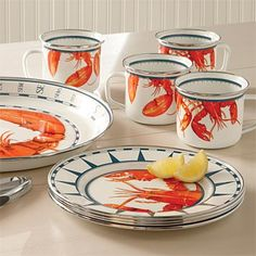 Lobster Dinnerware  Just what you need for your next New England clambake or any outdoor party.