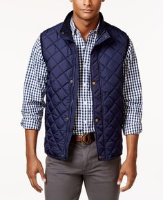 For a sporty look with versatile functionality, reach for this quilted zip and snap vest from Club Room. | Nylon/polyester | Machine wash | Imported | Mock collar | Full zip and snap closure | Quilted