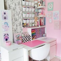 Visit our shop for heaven of stationery😍 - Visit our shop for heaven of stationery😍 , Check more at room. Cute Room Ideas, Cute Room Decor, Girl Bedroom Designs, Room Ideas Bedroom, Bedroom Wall, Diy Bedroom, Craft Room Organisation, Study Room Decor, Craft Room Design