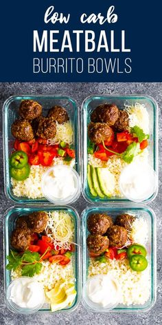 low carb meals Low carb meatball burrito bowls with taco-seasoned meatballs, cauliflower rice, pico de gallo, cheese and sour cream with only 5 g net carbs per serving. Low Carb Lunch, Lunch Meal Prep, Meal Prep Bowls, Easy Meal Prep, Healthy Meal Prep, Easy Meals, Meal Prep Low Carb, Low Carb Tacos, Cheap Clean Eating