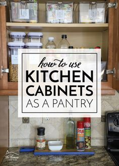 kitchen cabinets organization No pantry in your kitchen? Learn how to use kitchen cabinets as a pantry by employing creative and smart solutions! Used Kitchen Cabinets, Kitchen Pantry, Pantry Cabinets, Kitchen Cabinet Organization, Kitchen Organization, Organization Ideas, Cabinet Storage, Cabinet Ideas, Storage Ideas
