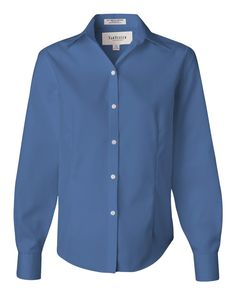 French Blue Ladies Non-Iron Pinpoint Oxford Shirt From Van Heusen - 13V0144
