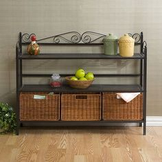 Add a beautiful touch of detail to your home with this gunmetal baker's rack. Chefs can keep everything they need on hand with its two spacious shelves and three rattan removable baskets. Its scroll motif adds a stylish touch to any kitchen.