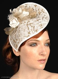 Mistress Lace A teardrop of sinamay is beautifully covered in lace and finished with a silk rose. Designed and shaped to mould around your face, this is a beautifully light headpiece. Mistress Lace is perfect for a summer wedding, Wedding Hats, Headpiece Wedding, Bridal Headpieces, Facinator Hats, Fascinators, Bridal Hat, Millinery Hats, Cocktail Hat, Church Hats