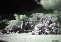 Irish Hills towers in infrared (Cambridge Twp., Lenawee County, Michigan)