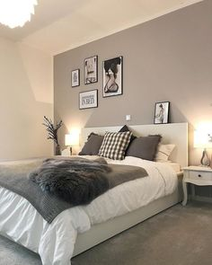 The best thing on Monday is when everything is done and you finally go to bed f - Einrichten und Wohnen - Schlafzimmer Room Ideas Bedroom, Bedroom Colors, Home Decor Bedroom, Modern Bedroom, Grey Bedroom Design, White Bedroom Decor, Grey Wall Bedroom, Charcoal Bedroom, Modern Teen Bedrooms