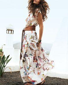 dress, flower, printed, white, summer, long, beach, resort,
