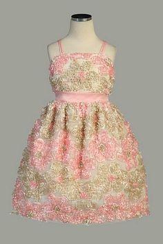 NWT Sweet Kids Girls Daisy Satin Ribbon Fancy Dress Pink Champagne Sze 6 Wedding #Dress