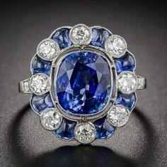 4.75 Carat Sapphire and Diamond Art Deco Style Ring - Antique & Vintage Gemstone Engagement Rings - Engagement