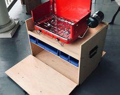 Sleeping Platform Truck Bed | Etsy Camp Kitchen Box, Kitchen Storage Boxes, Plate Storage, Camping Kitchen, Sliding Shelves, Small Shelves, Camping Stove, Diy Camping, Tent Camping