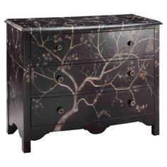 Hand-painted chest with 3 drawers and a cherry blossom motif.