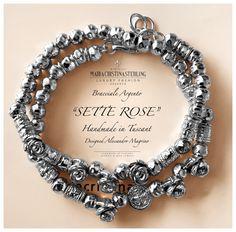 bracciale due giri sette rose argento made in Tuscany italy designed Alessandro Margino http://shop.mariacristinasterling.it