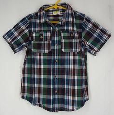 Boys CRAZY 8 Shirt Small 5 6 Plaid Button Front Short Sleeves Cotton Multi-Color #Crazy8