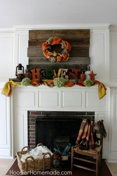 Rustic Fall Mantel :