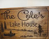 Lake House Signs Cottage Plaques Cabin Decor Welcome Signs Pine Tree Pine cone Fishing boat carved Sign Wooden Carved Cabin Plaque #59