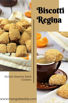 Sicilian Sesame Seed Cookies, nutty, crunchy and buttery! Perfect with your coffee or tea. #biscottiregina #sesameseedcookies