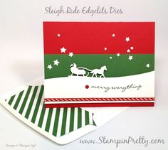 Simple Saturday NEW Sleigh Ride Edgelits Dies - http://stampinpretty.com/2015/08/simple-saturday-new-sleigh-ride-edgelits-dies.html  So festive & simple.  Sleigh Ride Edgelits Dies and Jingle All the Way stamp set were made for each other!  More details & Stampin' Up! card ideas on my Stampin' Pretty blog, http://stampinpretty.com.  Mary Fish, Independent StampinUp! Demonstrator.