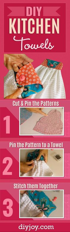 DIY Kitchen Towels - Cute and Easy Sewing Project that Makes a Cool DIY Christmas Gift Idea for Family and Friends - Step by Step Tutorial and Video - Kitchen and DIY Home Decor, Rustic Farmhouse Crafts and Projects