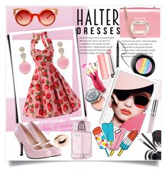 """Halter Dresses"" by amazingmeraff on Polyvore featuring Designers Guild, Trish McEvoy, Roger Vivier, Jacki Design, Sephora Collection, Bobbi Brown Cosmetics, Bomedo, Tattly, Chantecaille and Fendi"
