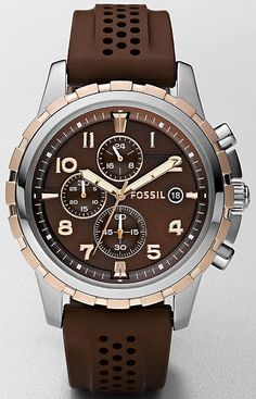 Fossil Men's FS4612 Stainless Steel Analog Brown Dial Watch , Fossil Watch Men