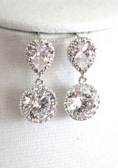 Gorgeous earrings made of gold finish Cubic Zirconia ear posts (925 sterling silver posts) together with 13mm clear white large cubic zirconia