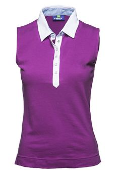 This feminine sleeveless polo in azalea pink or crocus purple is designed with chambray details and fine pique. Pia Sleeveless Polo w/o embr. #ladiesgolfapparel #sale #DailySports