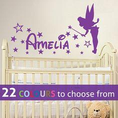 Personalised custom girls name Pixie TINKERBELL disney magic FAIRY wall sticker decal art for baby girls nursery, bedroom, playroom on Etsy, $24.60