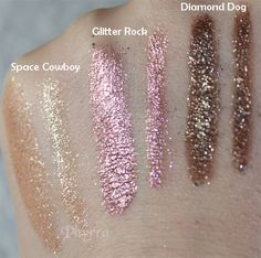 Urban Decay Moondust Space Cowboy, Glitter Rock, Diamond Dog, Swatches