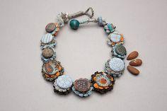Handmade crochet necklace with fabric buttons, light blue brown khaki, OOAK