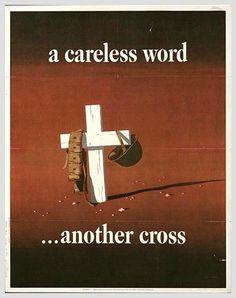 World War 2 Poster (American) - A careless word another cross.