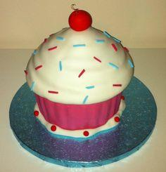 Iced giant cupcake
