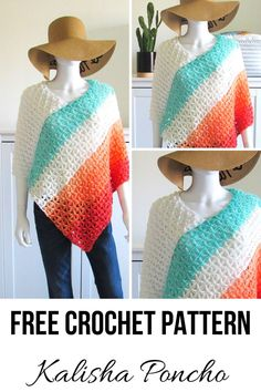 This crochet poncho free pattern has a simple construction that is perfect for beginners. It is made by joining 2 rectangles. It is a quick and easy pattern that runs from woman s size small to plus sizes. Make one for summer or for fall or winter. Crochet Poncho Patterns, Crochet Shawls And Wraps, Knitted Poncho, Crochet Scarves, Crochet Yarn, Easy Crochet, Crochet Clothes, Free Crochet, Crochet Vests
