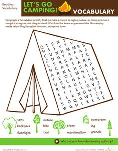 Second Grade Travel Games Worksheets: Let's Go Camping: Word Search Worksheet