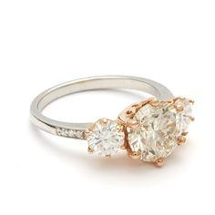 Three Stone Champagne Diamond Hazeline unique engagement ring ceremonial gold – Anna Sheffield