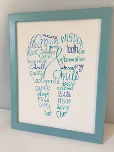 Dental Word Art // Tooth Shape artwork is a great gift for loved ones! It would look great in any dentists office or bathroom. This is an original hand lettering wall art. The size of the artwork on paper is 8.5x11 inches. The size of the artwork with the frame is 9.75x12.25 inches. I am Dental Works, Teeth Shape, Root Canal, Bathroom Art, Tooth Fairy, Box Frames, Word Art, Hand Lettering, First Love