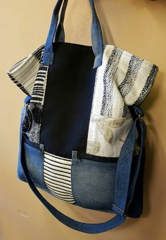 Fabric Handbags, Fabric Purses, Fabric Scraps, Satchel, Crossbody Bag, Art Bag, Patchwork Patterns, Simple Bags, Denim Bag