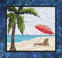 """Sandy Shore - NEW Form of Foundation Paper Piecing (Picture Piecing) Pattern - 17 1/4"""""""" x 19"""""""" Quilt Block"""